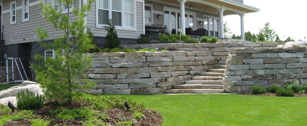 nice stairs and stone walls for plants
